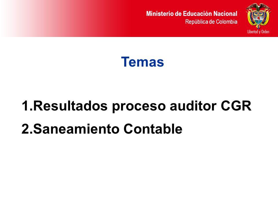 Ministerio de Educación Nacional República de Colombia Temas 1.Resultados proceso auditor CGR 2.Saneamiento Contable