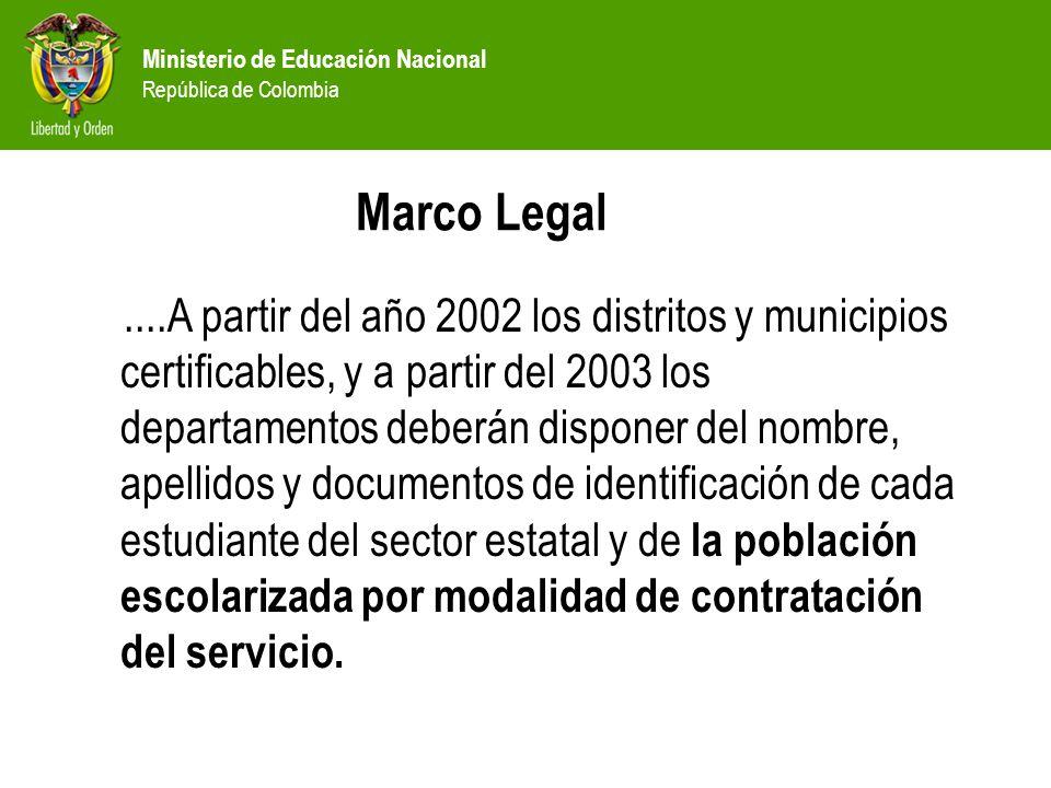 Ministerio de Educación Nacional República de Colombia Marco Legal....A partir del año 2002 los distritos y municipios certificables, y a partir del 2003 los departamentos deberán disponer del nombre, apellidos y documentos de identificación de cada estudiante del sector estatal y de la población escolarizada por modalidad de contratación del servicio.