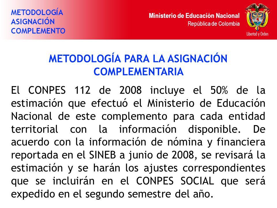Ministerio de Educación Nacional República de Colombia METODOLOGÍA PARA LA ASIGNACIÓN COMPLEMENTARIA El CONPES 112 de 2008 incluye el 50% de la estima