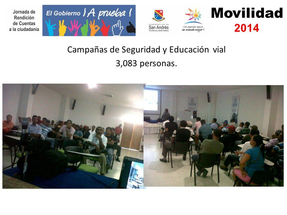 Campañas de Seguridad y Educación vial 3,083 personas. Movilidad 2014