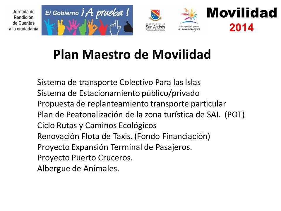 Movilidad 2014 Sistema de transporte Colectivo Para las Islas Sistema de Estacionamiento público/privado Propuesta de replanteamiento transporte particular Plan de Peatonalización de la zona turística de SAI.