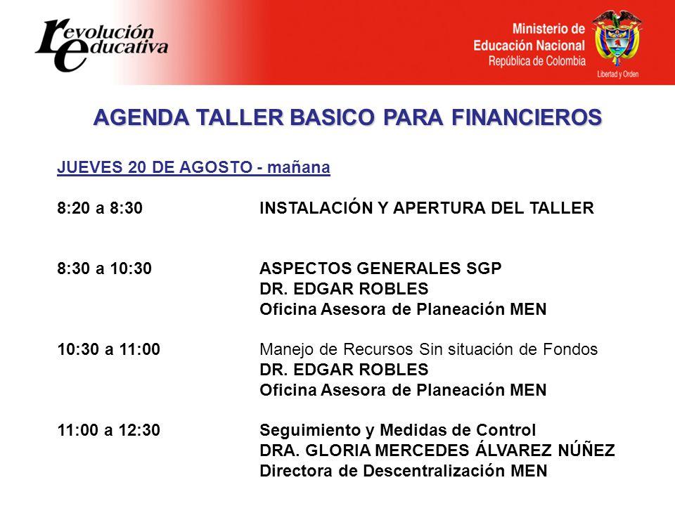 JUEVES 20 DE AGOSTO - mañana 8:20 a 8:30INSTALACIÓN Y APERTURA DEL TALLER 8:30 a 10:30 ASPECTOS GENERALES SGP DR.