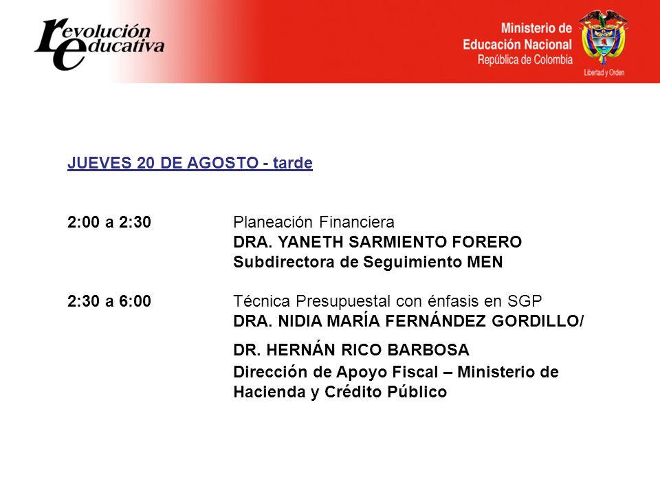 JUEVES 20 DE AGOSTO - tarde 2:00 a 2:30Planeación Financiera DRA.