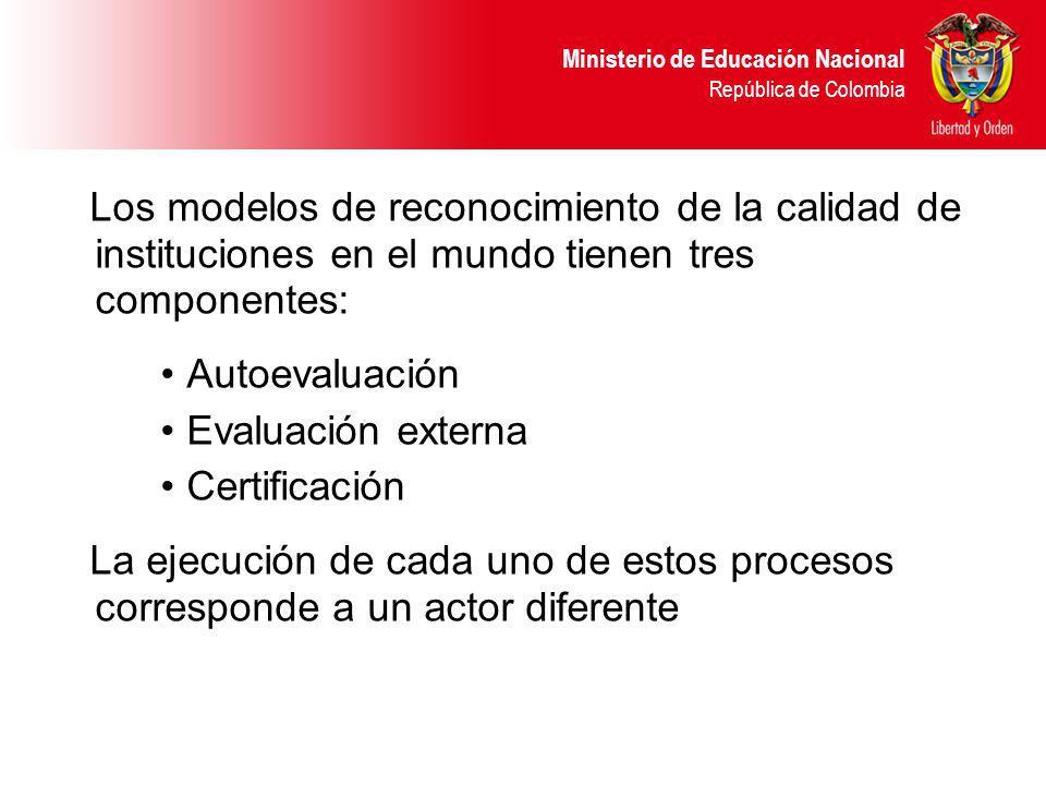 Ministerio de Educación Nacional República de Colombia Los modelos de reconocimiento de la calidad de instituciones en el mundo tienen tres componentes: Autoevaluación Evaluación externa Certificación La ejecución de cada uno de estos procesos corresponde a un actor diferente