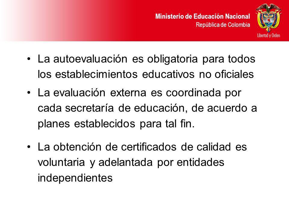 Ministerio de Educación Nacional República de Colombia La autoevaluación es obligatoria para todos los establecimientos educativos no oficiales La evaluación externa es coordinada por cada secretaría de educación, de acuerdo a planes establecidos para tal fin.
