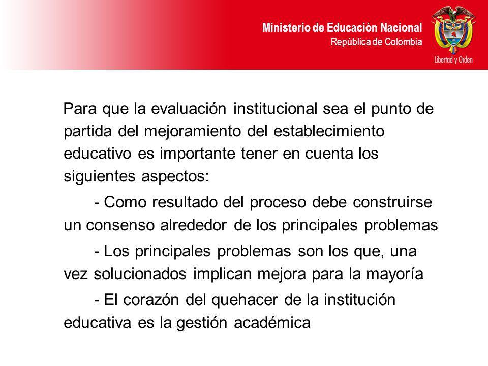 Ministerio de Educación Nacional República de Colombia Para que la evaluación institucional sea el punto de partida del mejoramiento del establecimien