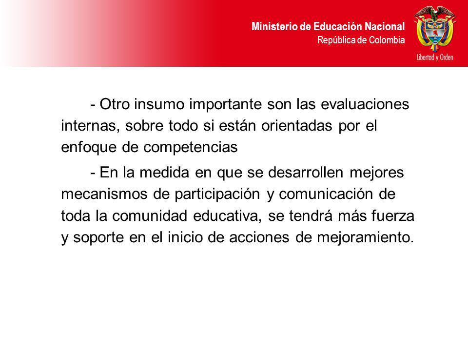 Ministerio de Educación Nacional República de Colombia - Otro insumo importante son las evaluaciones internas, sobre todo si están orientadas por el enfoque de competencias - En la medida en que se desarrollen mejores mecanismos de participación y comunicación de toda la comunidad educativa, se tendrá más fuerza y soporte en el inicio de acciones de mejoramiento.