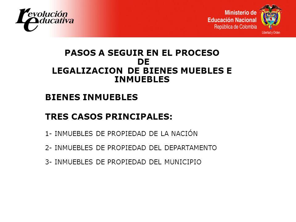 PASOS A SEGUIR EN EL PROCESO DE LEGALIZACION DE BIENES MUEBLES E INMUEBLES BIENES INMUEBLES TRES CASOS PRINCIPALES: 1- INMUEBLES DE PROPIEDAD DE LA NA