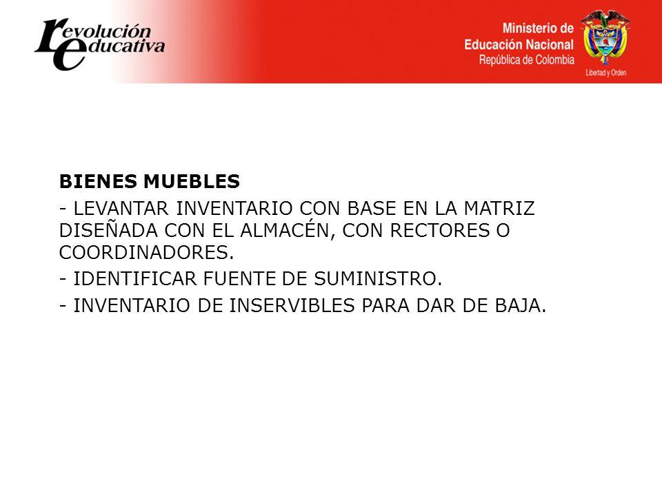 BIENES MUEBLES - LEVANTAR INVENTARIO CON BASE EN LA MATRIZ DISEÑADA CON EL ALMACÉN, CON RECTORES O COORDINADORES. - IDENTIFICAR FUENTE DE SUMINISTRO.