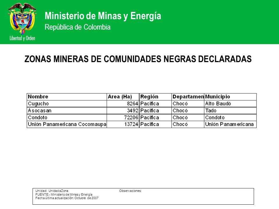 Ministerio de Minas y Energía República de Colombia ZONAS MINERAS DE COMUNIDADES NEGRAS DECLARADAS Unidad: Unidad aZonaObservaciones: FUENTE:- Ministe