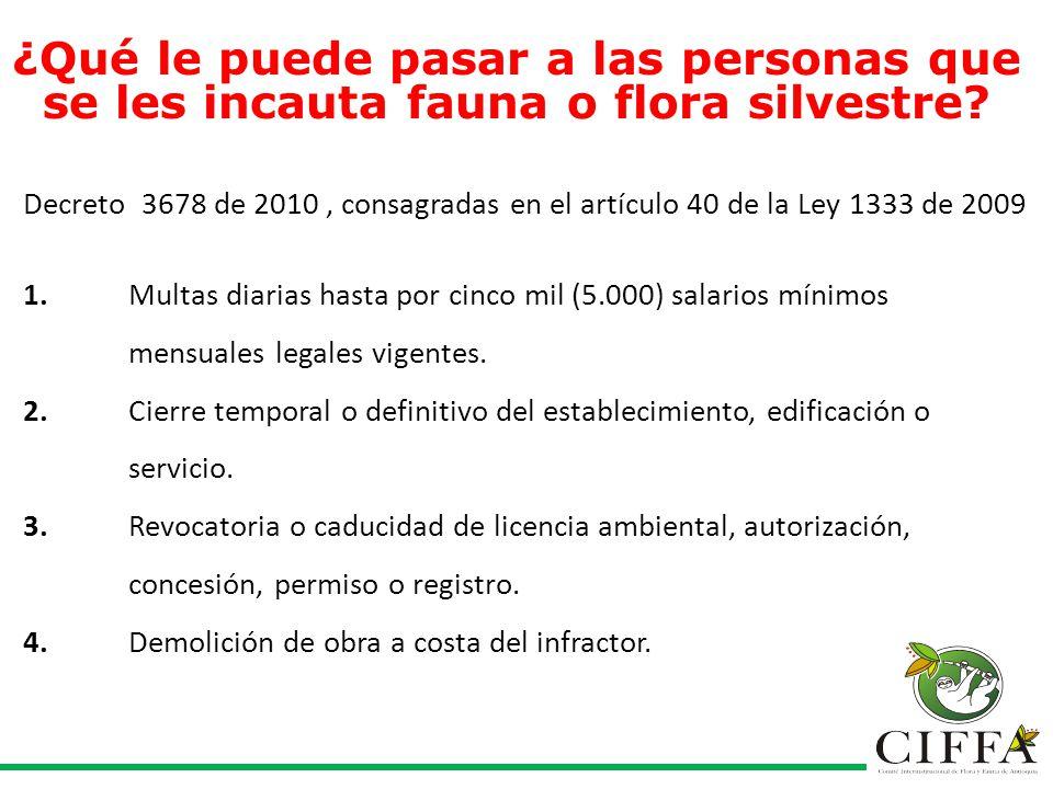 Decreto 3678 de 2010, consagradas en el artículo 40 de la Ley 1333 de 2009 1.