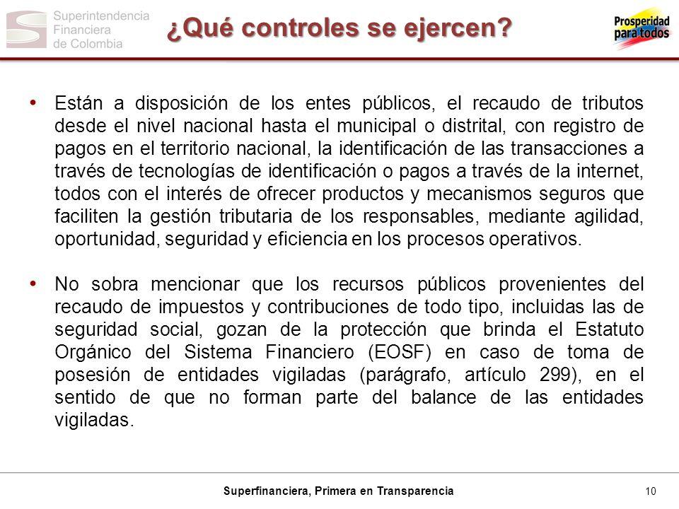 10 Superfinanciera, Primera en Transparencia ¿Qué controles se ejercen.