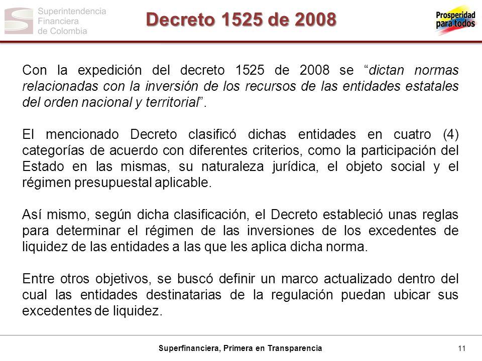11 Superfinanciera, Primera en Transparencia Decreto 1525 de 2008 Con la expedición del decreto 1525 de 2008 se dictan normas relacionadas con la inversión de los recursos de las entidades estatales del orden nacional y territorial.