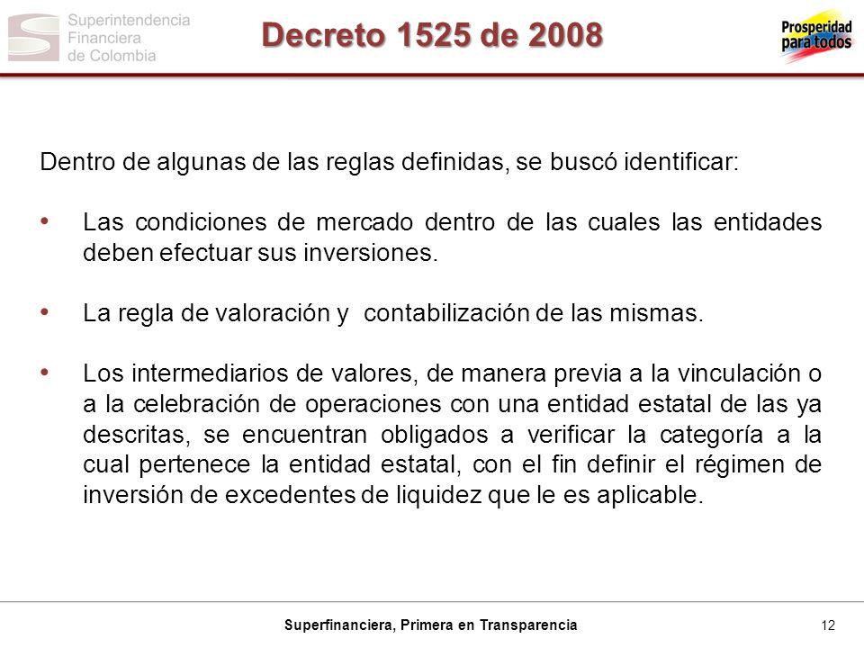 12 Superfinanciera, Primera en Transparencia Decreto 1525 de 2008 Dentro de algunas de las reglas definidas, se buscó identificar: Las condiciones de mercado dentro de las cuales las entidades deben efectuar sus inversiones.