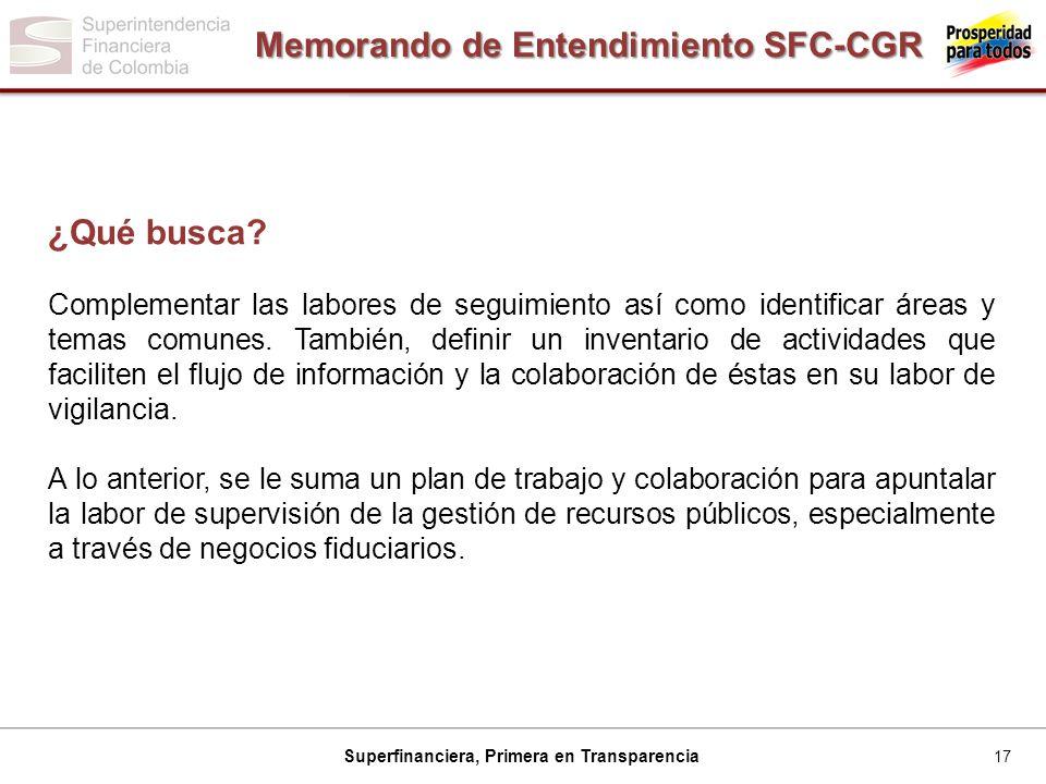 17 Superfinanciera, Primera en Transparencia Memorando de Entendimiento SFC-CGR ¿Qué busca.