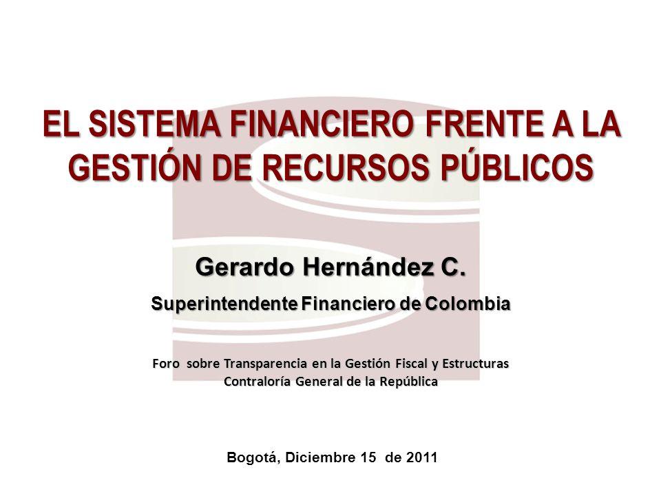 2 Superfinanciera, primera en transparencia Bogotá, Diciembre 15 de 2011 EL SISTEMA FINANCIERO FRENTE A LA GESTIÓN DE RECURSOS PÚBLICOS Gerardo Hernández C.