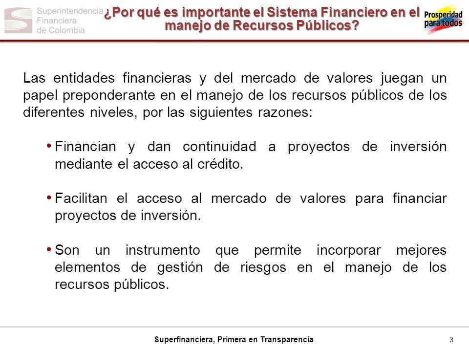 3 Superfinanciera, Primera en Transparencia ¿Por qué es importante el Sistema Financiero en el manejo de Recursos Públicos.