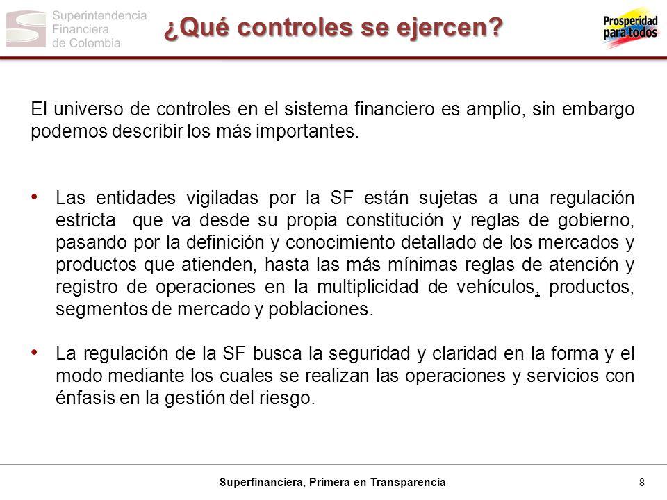 8 Superfinanciera, Primera en Transparencia ¿Qué controles se ejercen.