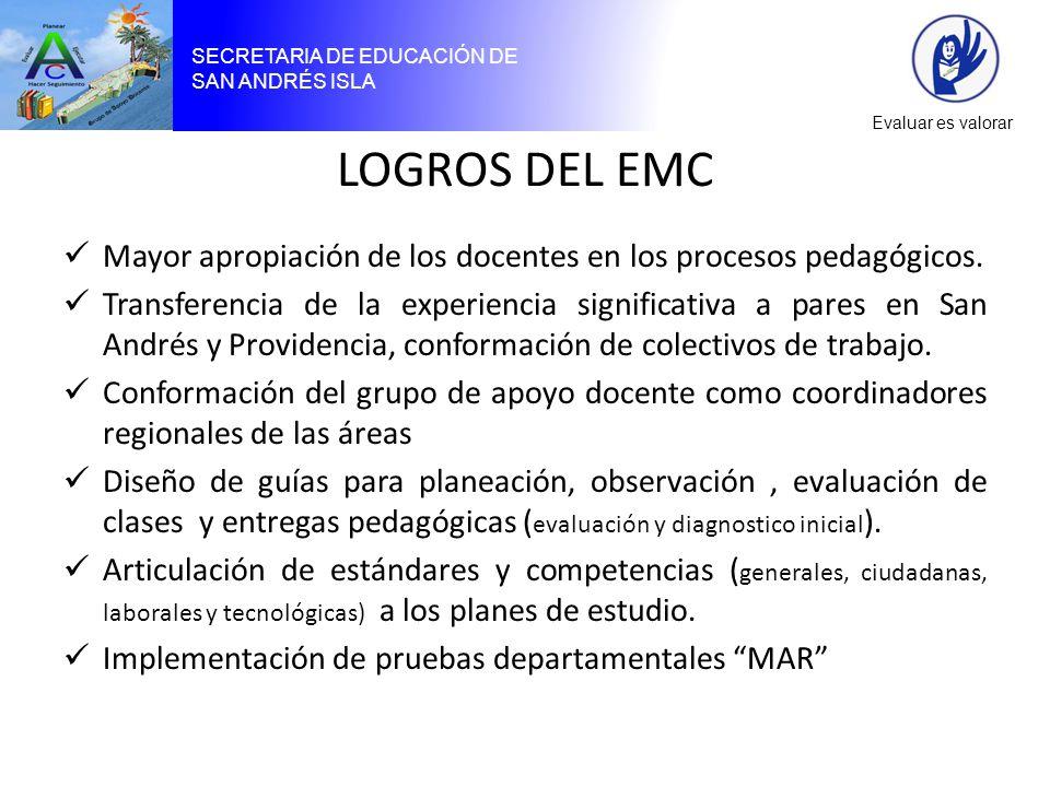 SECRETARIA DE EDUCACIÓN DE SAN ANDRÉS ISLA Evaluar es valorar LOGROS DEL EMC Mayor apropiación de los docentes en los procesos pedagógicos.