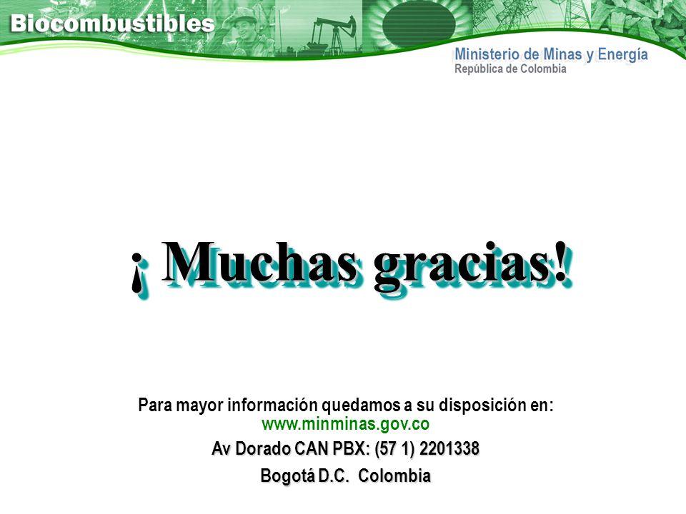 ¡ Muchas gracias! Para mayor información quedamos a su disposición en: www.minminas.gov.co Av Dorado CAN PBX: (57 1) 2201338 Bogotá D.C. Colombia