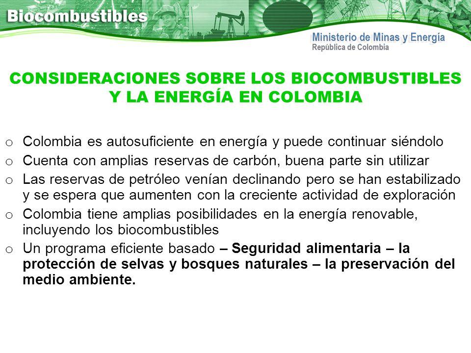 CONSIDERACIONES SOBRE LOS BIOCOMBUSTIBLES Y LA ENERGÍA EN COLOMBIA o Colombia es autosuficiente en energía y puede continuar siéndolo o Cuenta con amp