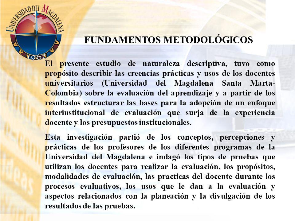 FUNDAMENTOS METODOLÓGICOS El presente estudio de naturaleza descriptiva, tuvo como propósito describir las creencias prácticas y usos de los docentes
