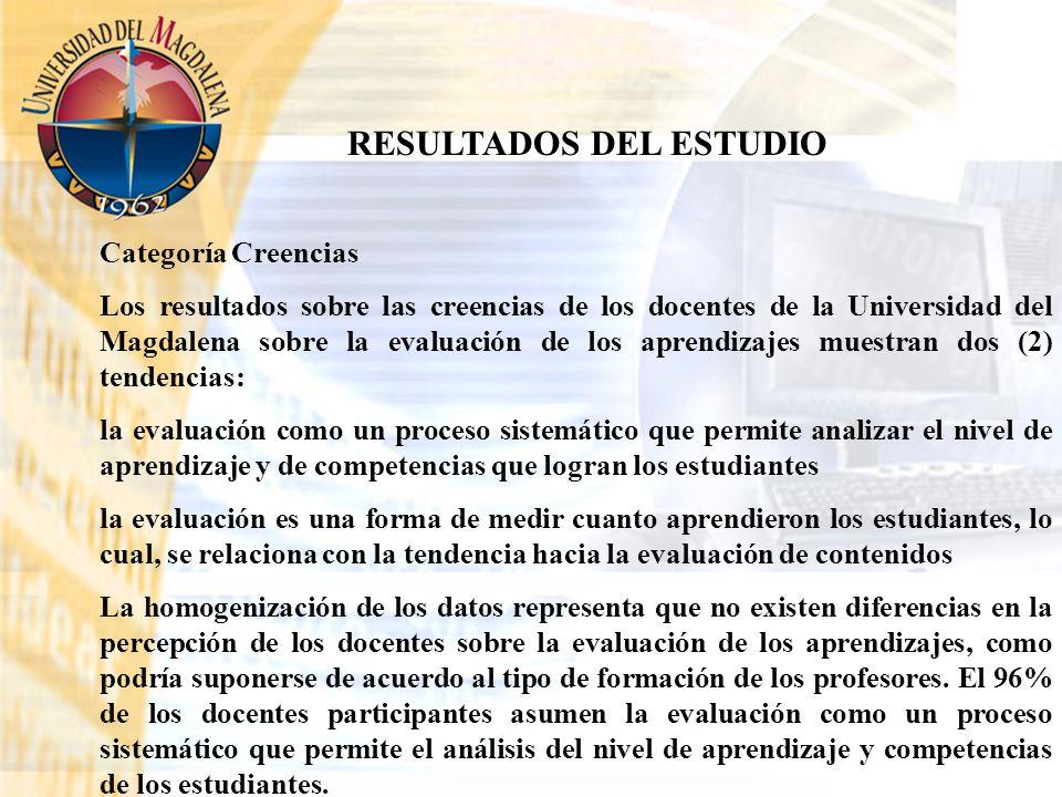 RESULTADOS DEL ESTUDIO Categoría Creencias Los resultados sobre las creencias de los docentes de la Universidad del Magdalena sobre la evaluación de l