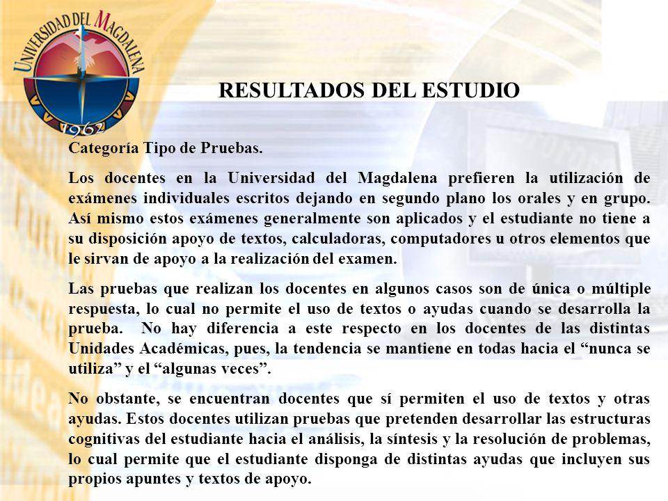 Categoría Tipo de Pruebas. Los docentes en la Universidad del Magdalena prefieren la utilización de exámenes individuales escritos dejando en segundo