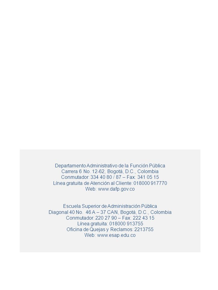 28 Departamento Administrativo de la Función Pública Carrera 6 No. 12-62, Bogotá, D.C., Colombia Conmutador: 334 40 80 / 87 – Fax: 341 05 15 Línea gra