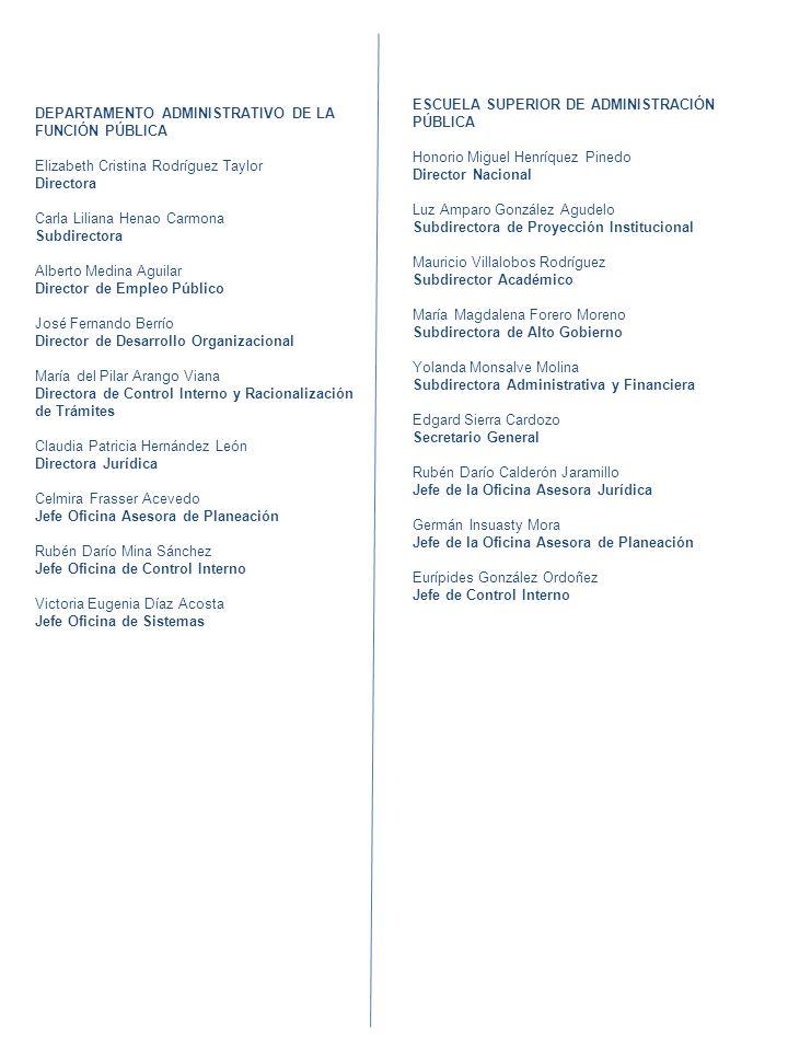 3 DEPARTAMENTO ADMINISTRATIVO DE LA FUNCIÓN PÚBLICA Elizabeth Cristina Rodríguez Taylor Directora Carla Liliana Henao Carmona Subdirectora Alberto Med