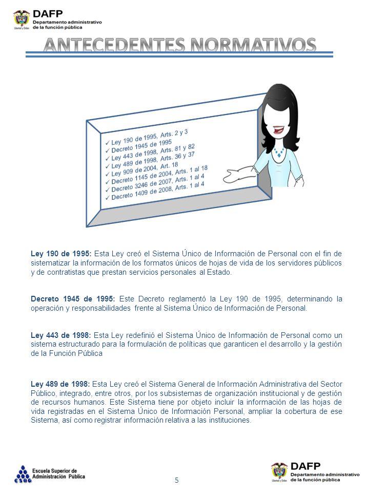 5 Ley 190 de 1995: Esta Ley creó el Sistema Único de Información de Personal con el fin de sistematizar la información de los formatos únicos de hojas
