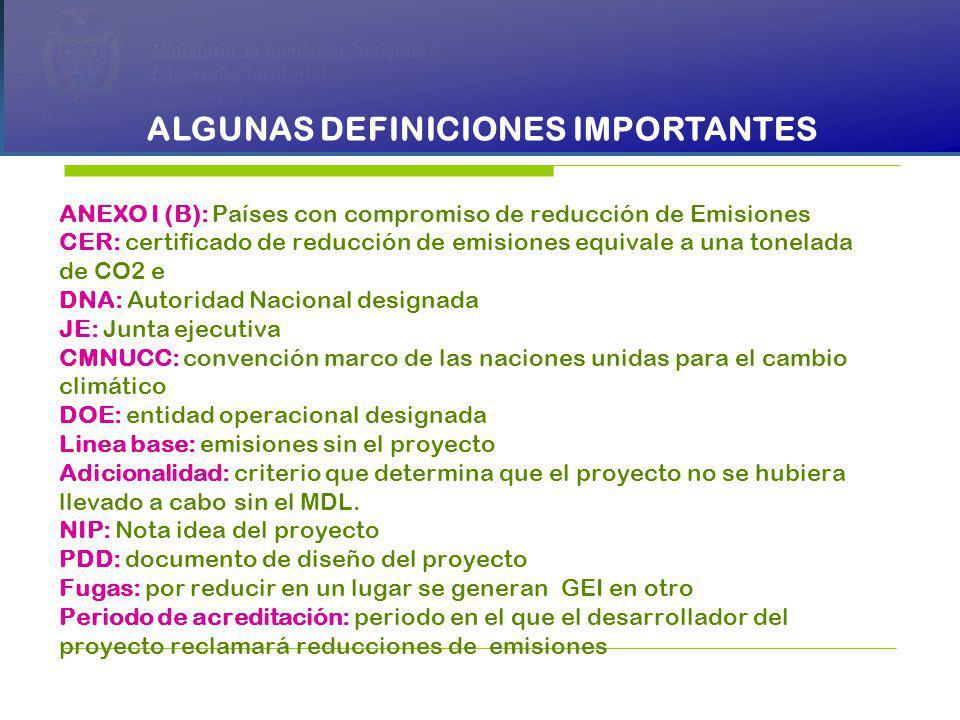PRESIDENCIA DE LA REPÚBLICA Ministerio de Ambiente, Vivienda y Desarrollo Territorial Ministerio de Ambiente, Vivienda y Desarrollo Territorial República de Colombia Ministerio de Ambiente, Vivienda y Desarrollo Territorial República de Colombia ALGUNAS DEFINICIONES IMPORTANTES ANEXO I (B): Países con compromiso de reducción de Emisiones CER: certificado de reducción de emisiones equivale a una tonelada de CO2 e DNA: Autoridad Nacional designada JE: Junta ejecutiva CMNUCC: convención marco de las naciones unidas para el cambio climático DOE: entidad operacional designada Linea base: emisiones sin el proyecto Adicionalidad: criterio que determina que el proyecto no se hubiera llevado a cabo sin el MDL.