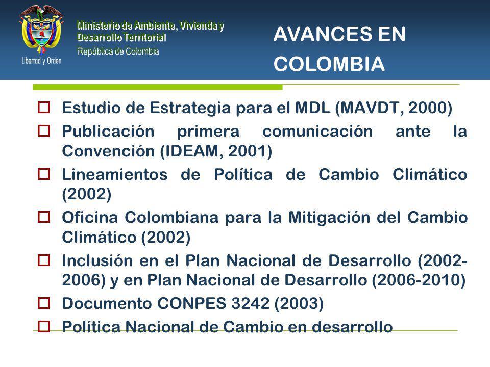 PRESIDENCIA DE LA REPÚBLICA Ministerio de Ambiente, Vivienda y Desarrollo Territorial Ministerio de Ambiente, Vivienda y Desarrollo Territorial República de Colombia Ministerio de Ambiente, Vivienda y Desarrollo Territorial República de Colombia Estudio de Estrategia para el MDL (MAVDT, 2000) Publicación primera comunicación ante la Convención (IDEAM, 2001) Lineamientos de Política de Cambio Climático (2002) Oficina Colombiana para la Mitigación del Cambio Climático (2002) Inclusión en el Plan Nacional de Desarrollo (2002- 2006) y en Plan Nacional de Desarrollo (2006-2010) Documento CONPES 3242 (2003) Política Nacional de Cambio en desarrollo AVANCES EN COLOMBIA
