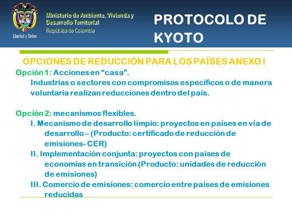 PRESIDENCIA DE LA REPÚBLICA Ministerio de Ambiente, Vivienda y Desarrollo Territorial Ministerio de Ambiente, Vivienda y Desarrollo Territorial República de Colombia Ministerio de Ambiente, Vivienda y Desarrollo Territorial República de Colombia Contribuir al objetivo de la CMNUCC Ayudar a los países Anexo I a reducir las emisiones GEI Ayudar a países No Anexo I a alcanzar un desarrollo sostenible OBJETIVOS DEL MDL