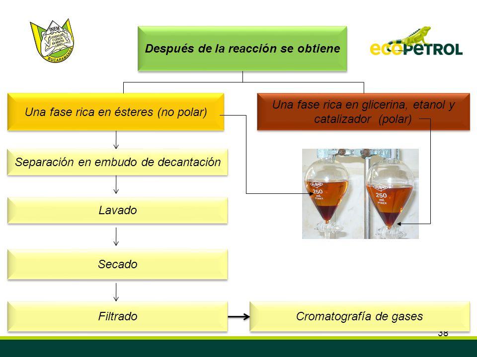 38 Después de la reacción se obtiene Una fase rica en glicerina, etanol y catalizador (polar) Una fase rica en ésteres (no polar) Lavado Secado Filtra