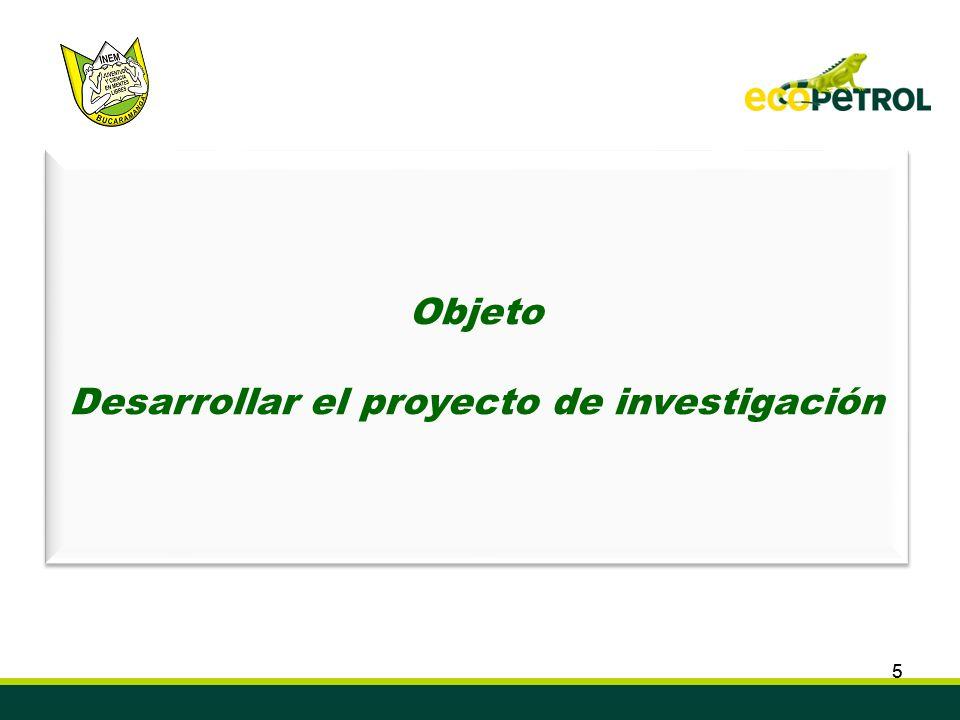 55 Convenio de Cooperación Tecnológica ECOPETROL S.A. ICP – INEM Custodio García Rovira de Bucaramanga Semillero de Investigación en Biocombustibles,