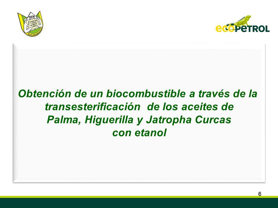66 Convenio de Cooperación Tecnológica ECOPETROL S.A. ICP – INEM Custodio García Rovira de Bucaramanga Semillero de Investigación en Biocombustibles,