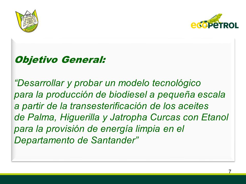 77 Convenio de Cooperación Tecnológica ECOPETROL S.A. ICP – INEM Custodio García Rovira de Bucaramanga Semillero de Investigación en Biocombustibles,
