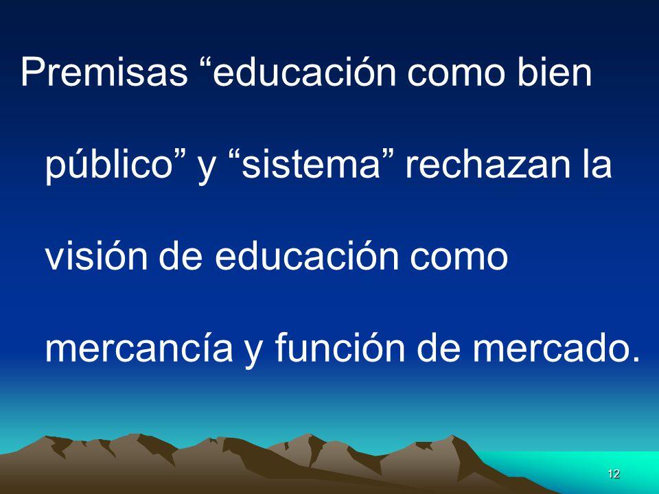 12 Premisas educación como bien público y sistema rechazan la visión de educación como mercancía y función de mercado.