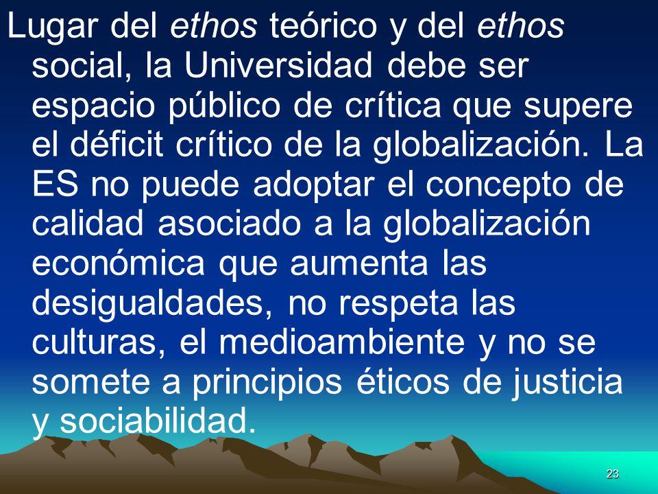 23 Lugar del ethos teórico y del ethos social, la Universidad debe ser espacio público de crítica que supere el déficit crítico de la globalización. L
