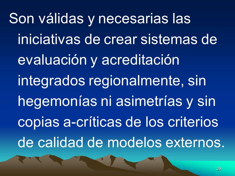 29 Son válidas y necesarias las iniciativas de crear sistemas de evaluación y acreditación integrados regionalmente, sin hegemonías ni asimetrías y si