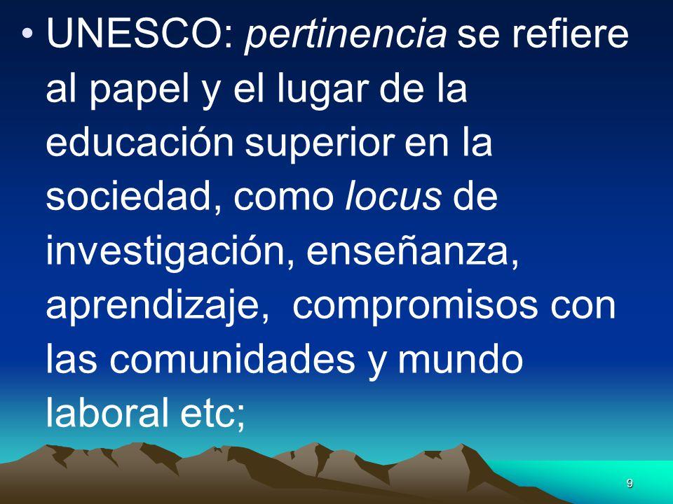 9 UNESCO: pertinencia se refiere al papel y el lugar de la educación superior en la sociedad, como locus de investigación, enseñanza, aprendizaje, com