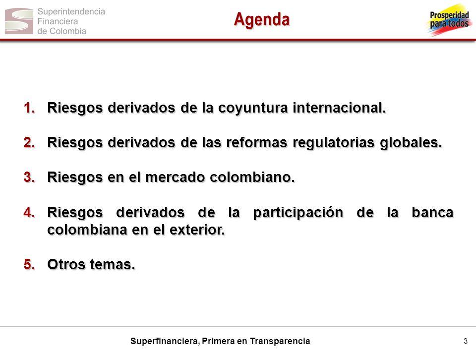 Superfinanciera, Primera en Transparencia 3 1.Riesgos derivados de la coyuntura internacional. 2.Riesgos derivados de las reformas regulatorias global