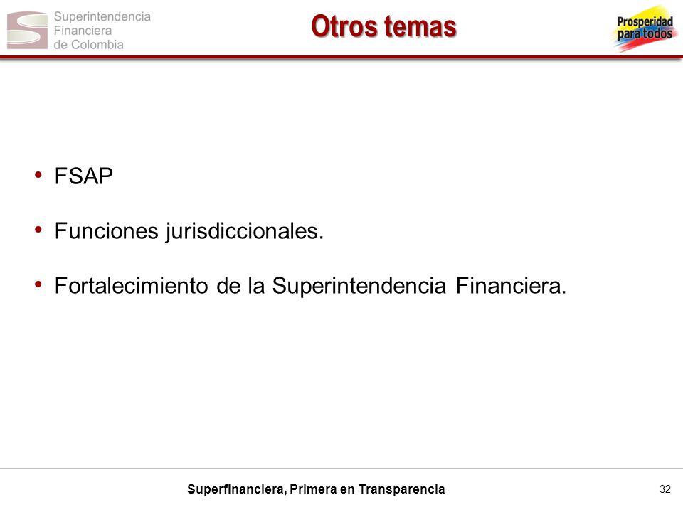 Superfinanciera, Primera en Transparencia 32 FSAP Funciones jurisdiccionales. Fortalecimiento de la Superintendencia Financiera. Otros temas
