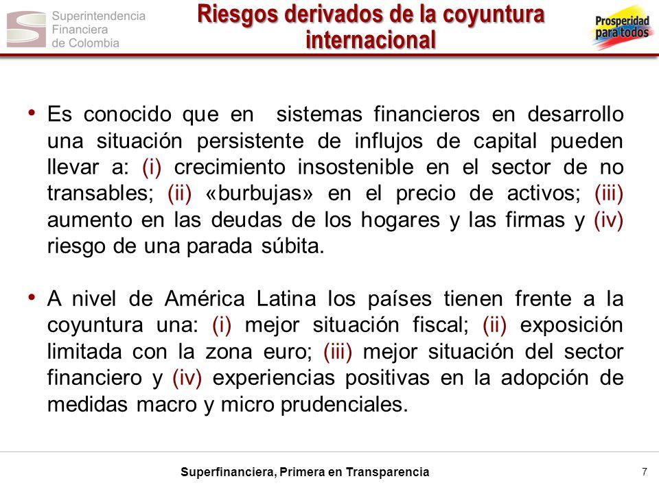 Superfinanciera, Primera en Transparencia 7 Es conocido que en sistemas financieros en desarrollo una situación persistente de influjos de capital pue