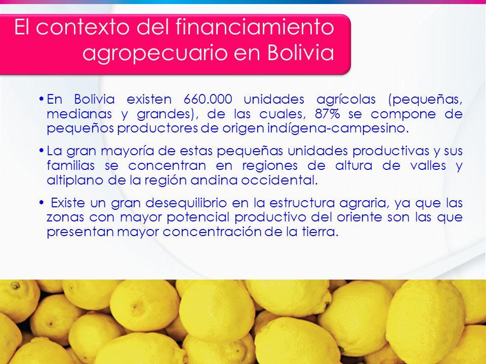El contexto del financiamiento agropecuario en Bolivia En Bolivia existen 660.000 unidades agrícolas (pequeñas, medianas y grandes), de las cuales, 87