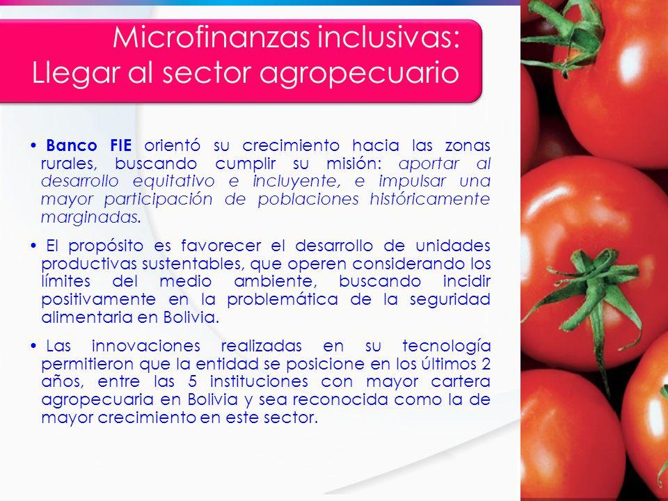 Microfinanzas inclusivas: Llegar al sector agropecuario Banco FIE orientó su crecimiento hacia las zonas rurales, buscando cumplir su misión: aportar