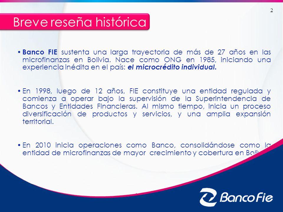 Breve reseña histórica Banco FIE sustenta una larga trayectoria de más de 27 años en las microfinanzas en Bolivia. Nace como ONG en 1985, iniciando un