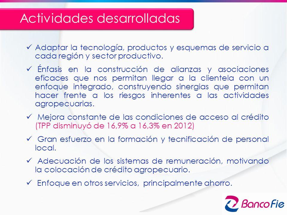Adaptar la tecnología, productos y esquemas de servicio a cada región y sector productivo. Énfasis en la construcción de alianzas y asociaciones efica