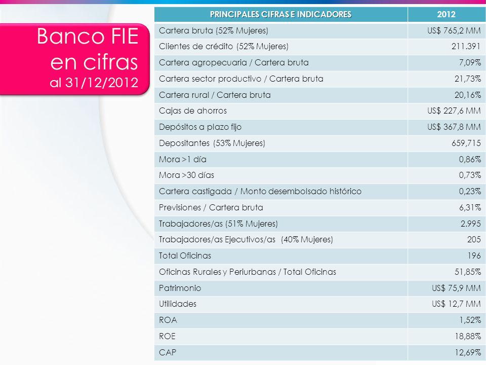 Banco FIE en cifras al 31/12/2012 PRINCIPALES CIFRAS E INDICADORES 2012 Cartera bruta (52% Mujeres)US$ 765,2 MM Clientes de crédito (52% Mujeres)211.3